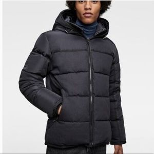Zara Men's NAVY Denim Quilted Jacket Size Med